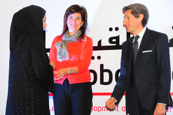 Woman Achiever Excellence Award, H.E MARIAM BINT ABDULLAH AL-ATTIYAH, SECRETARY GENERAL QATAR NATIONAL HUMAN RIGHTS COMMITTEE. Award presented by chief guest, Mr. Paolo Lembo, United Nations Resident Coordinator in UAE, Qatar and Oman,UNDP and Ms. Elif Ço