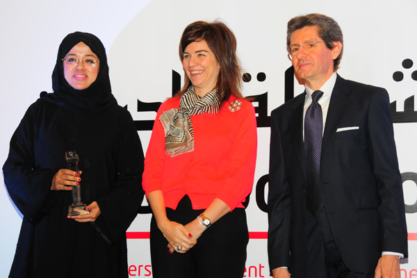 Woman Leader in Corporate Management Excellence Award, Ms. Laila Suhail, CEO of Dubai Events and Promotions Establishment. Award presented by chief guest, Mr. Paolo Lembo, United Nations Resident Coordinator in UAE, Qatar and Oman,UNDP and Ms. Elif Çomo&#