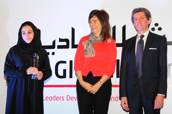 Woman Leader in Banking and Finance Excellence Award, Ms. Marwa Ahmed Al Falasi, Head of Branches for Retail Banking - CBI . Award presented by chief guest, Mr. Paolo Lembo, United Nations Resident Coordinator in UAE, Qatar and Oman,UNDP and Ms. Elif Çomo