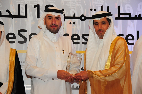 eArchiving and eDocument Management Excellence Award, Public Pension Agency - Saudi Arabia. Award received by Sami Abdullah Jammaz, Director of the General Department of Information Technology, Public Pension Agency, Saudi Arabia. Award presented by H.E D