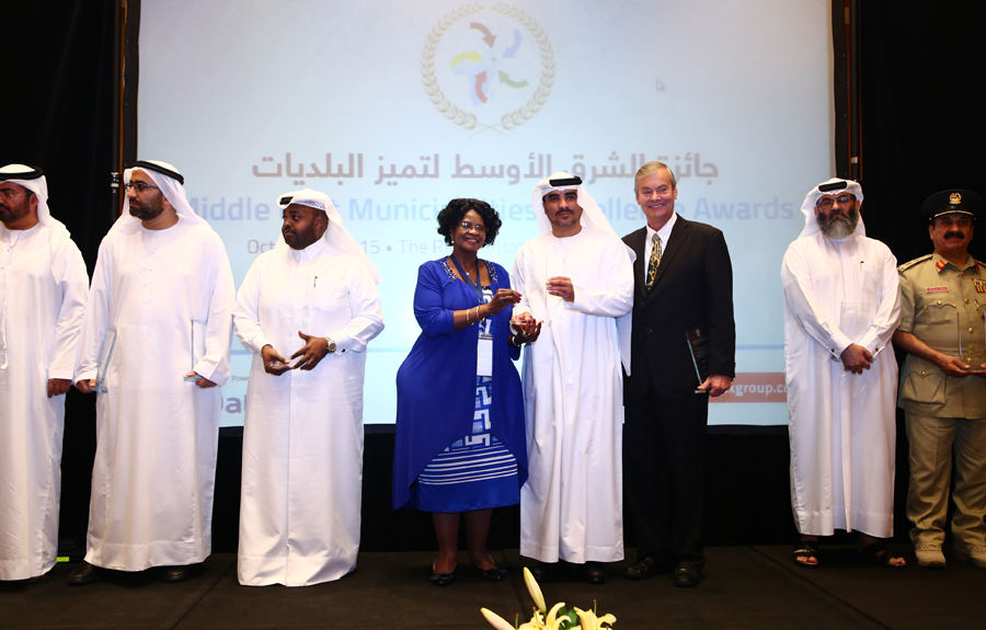 Emaar Properties Awarded the 'Citizens Housing Projects Excellence Award': Ahmed Juma Al Falasi Chief Operating Officer of the company Emaar  receiving the Award from Mr. Brad Woodside, Mayor of Fredericton, Canada and Mrs. Sarah Matawana Mlamleli, Member Executive Council, Department of Corporative Governance and Traditional Affairs, Free State Provincial Government of South Africa