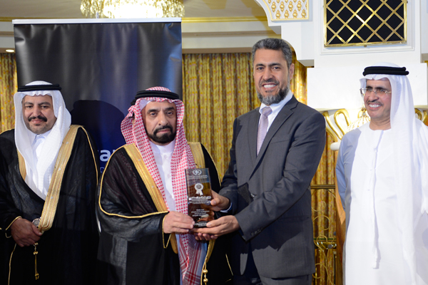 Mr. Sayed Aqa, UNDP's UAE Resident Representative presenting the  Infrastructure Development Excellence Award ) Riyadh Municipality to Engineer. Mohamed Rashid Alshtrey Assistant General Manager Implementation And Supervision- KSA