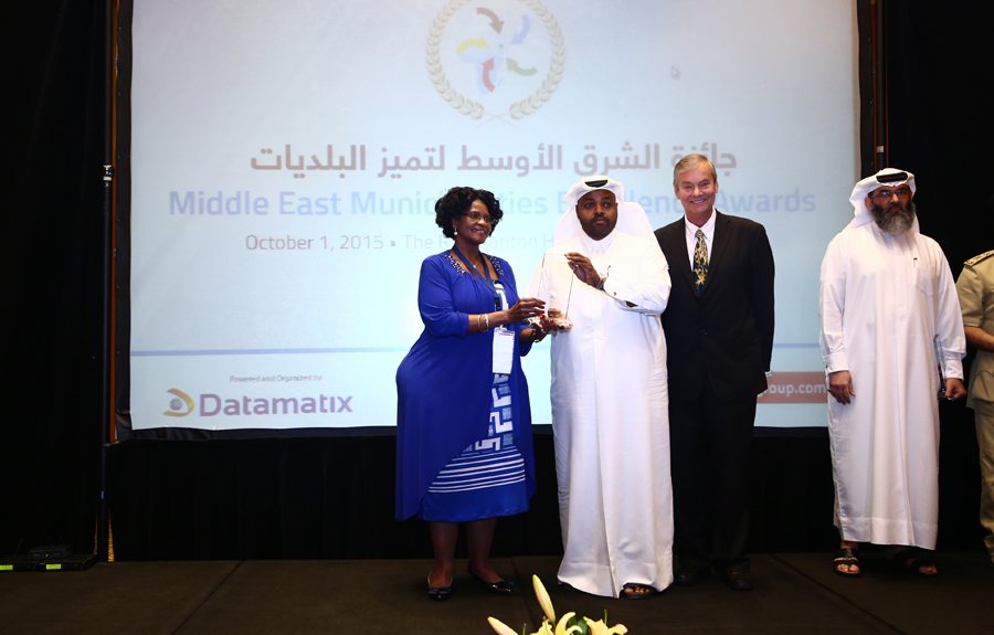 Ministry of Economy and Trade – Qatar Awarded the 'Protection of Consumer Rights Excellence Award': Mr.Youssef Saad Abdullah Al Suwaidi, Consumer Rights Department Manager receiving the Award from Mr. Brad Woodside, Mayor of Fredericton, Canada and Mrs. Sarah Matawana Mlamleli, Member Executive Council, Department of Corporative Governance and Traditional Affairs, Free State Provincial Government of South Africa