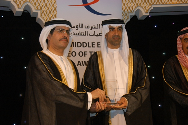 Industry CEO of the Year  -  HE. Saeed Mohammed Al Tayer, Managing Director & CEO (DEWA), UAE Awarded by, His Excellency Dr. Hanif Hassan, UAE Minister of Education