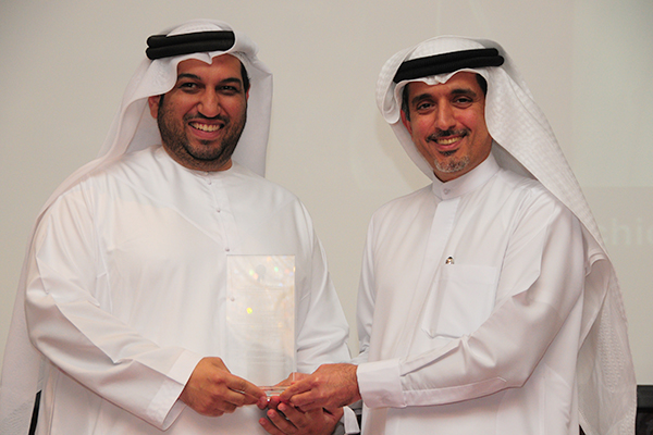 The Emirates Authority for Standardisation and Metrology Esma Awarded the 'Government Customer Care Excellence Award': Mr. Saif Al Ali, Head of Customer Service receiving the Award from H.E. Dr. Ahmad Bin Hezeem, BSA Ahmad Bin Hezeem and  Associates LLP