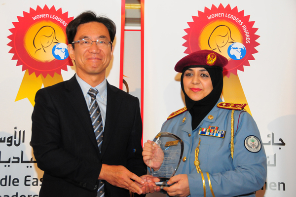 Hon. Japanese Consul General Hisashi Michigami Presents the Woman Leader in Medicine and Pharmaceutics Excellence Award to Ra'eda Khalid Ahmed Bin Khadim, Lieutenant Colonel of Forensic and Toxicology Department - Sharjah Police