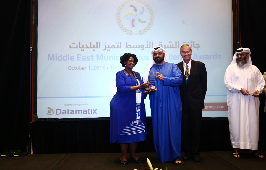 Roads and Transport Authority in Dubai Awarded the 'Protection and Development of Roads Excellence Award': Engineer. Hussein Al Banna, Director of Traffic Department - Dubai Roads and Transport Management receiving the Award from Mr. Brad Woodside, Mayor of Fredericton, Canada and Mrs. Sarah Matawana Mlamleli, Member Executive Council, Department of Corporative Governance and Traditional Affairs, Free State Provincial Government of South Africa