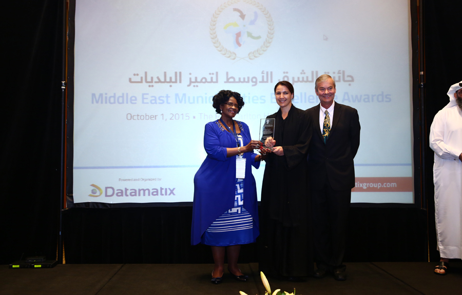 The Ministry of Environment and Water – UAE Awarded the 'Environment and Natural Resources Protection Excellence Award': H.E Eng.Mariem Bint Hareb, Assistant Undersecretary for the Sector of Water Resources and Nature Conservation receiving the Award from Mr. Brad Woodside, Mayor of Fredericton, Canada and Mrs. Sarah Matawana Mlamleli, Member Executive Council, Department of Corporative Governance and Traditional Affairs, Free State Provincial Government of South Africa