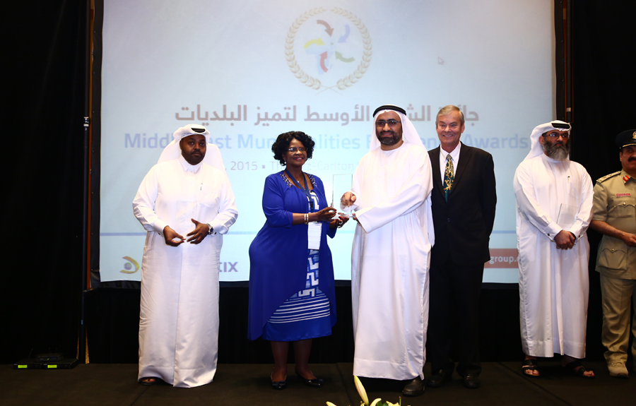 Dubai Municipality Awarded the 'Smart Municipalities Excellence Award': Eng Raed Mohammed Marzouki, President of the Occupational Health and Safety Section of Dubai Municipality  receiving the Award from Mr. Brad Woodside, Mayor of Fredericton, Canada and Mrs. Sarah Matawana Mlamleli, Member Executive Council, Department of Corporative Governance and Traditional Affairs, Free State Provincial Government of South Africa