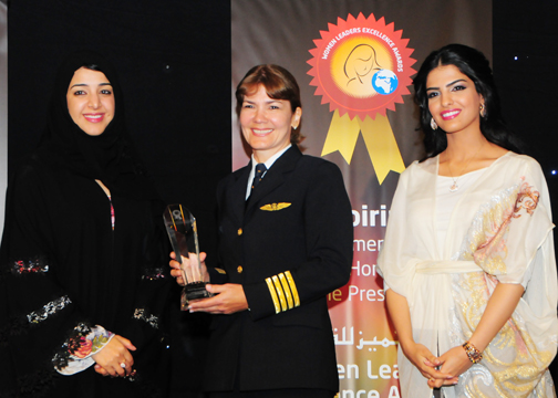 CAPTAIN KALINA COMENHO, Emirates Airline, Awarded Woman Pilot Excellence Award with H.H Princess Ameerah Al   Taweel (Right) and H.E. Reem Al-Hashimy   U.A.E. Minister of State (Left).