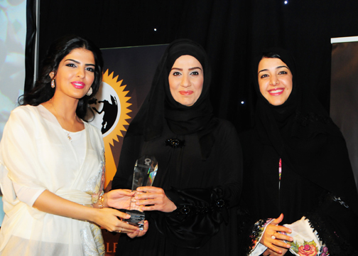 Mrs. SONIA ALHASHIMI, CHAIRPERSON, UDSA, Awarded Woman in Society Development Excellence Award, Award Presented by H.H Princess Ameerah Al Taweel (Left) with H.E. Reem Al-Hashimy U.A.E. Minister of State (Right).