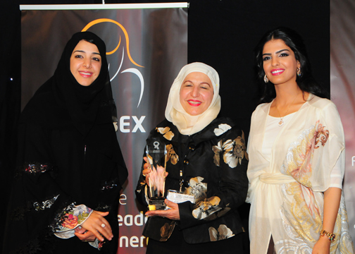 Dr Meena Marafie, Manager Petroleum Refining Department, KISR- KUWAIT, Awarded Women in Oil Industry Excellence Award, with H.H Princess Ameerah Al   Taweel (Right), and H.E. Reem Al-Hashimy   U.A.E. Minister of State (Left).