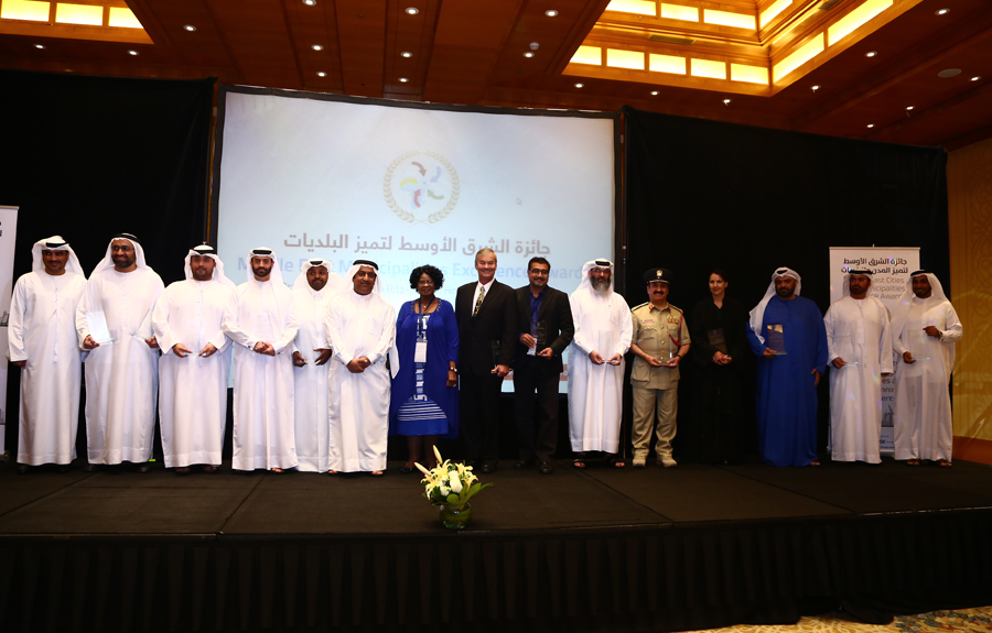 5th Middle East Cities and Municipalities Excellence Awards Winners with Mr. Brad Woodside, Mayor of Fredericton, Canada and Mrs. Sarah Matawana Mlamleli, Member Executive Council, Department of Corporative Governance and Traditional Affairs, Free State Provincial Government of South Africa