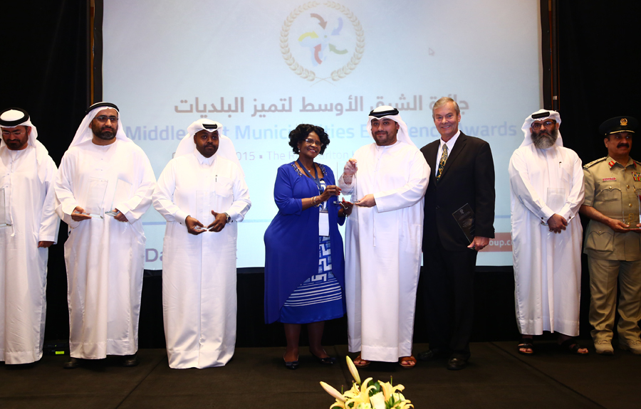 Abu Dhabi Food Control Authority Awarded the 'Food Safety and Protection Excellence Award': Majed Hilal Al Hosni Director of Strategic Planning and Performance Management  receiving the Award from Mr. Brad Woodside, Mayor of Fredericton, Canada and Mrs. Sarah Matawana Mlamleli, Member Executive Council, Department of Corporative Governance and Traditional Affairs, Free State Provincial Government of South Africa