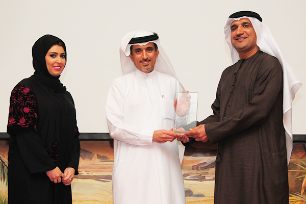 Wasl Properties Awarded the 'Real Estate Development Customer Care Excellence Award': Ms. Zainab Mohammed, CEO Property Management & Marketing and Mr. Abdullah Ishaq, Head of Leasing & Customer Service receiving the Award from H.E. Dr. Ahmad Bin Hezeem, BSA Ahmad Bin Hezeem and  Associates LLP