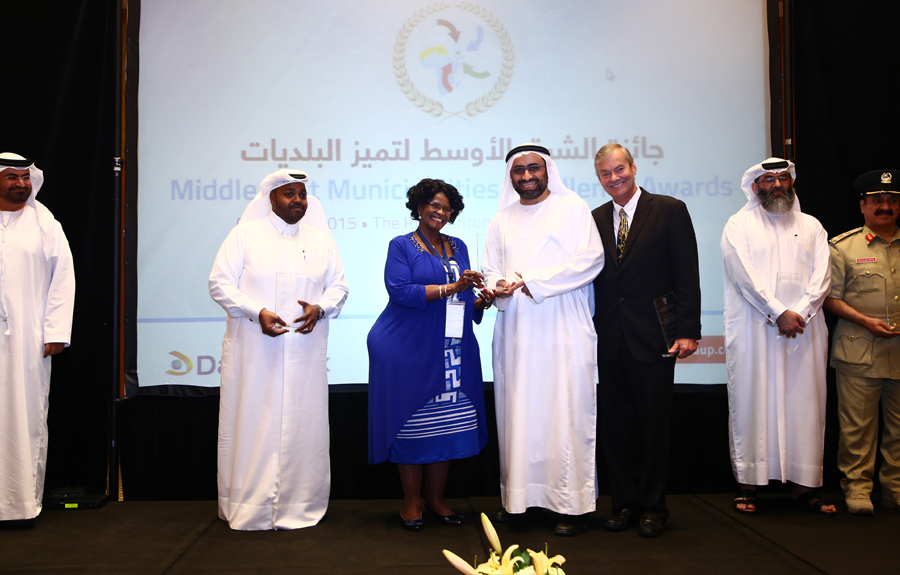 Dubai Municipality Awarded the 'Public Health and Safety Excellence Award': Eng Raed Mohammed Marzouki, President of the Occupational Health and Safety Section of Dubai Municipality  receiving the Award from Mr. Brad Woodside, Mayor of Fredericton, Canada and Mrs. Sarah Matawana Mlamleli, Member Executive Council, Department of Corporative Governance and Traditional Affairs, Free State Provincial Government of South Africa