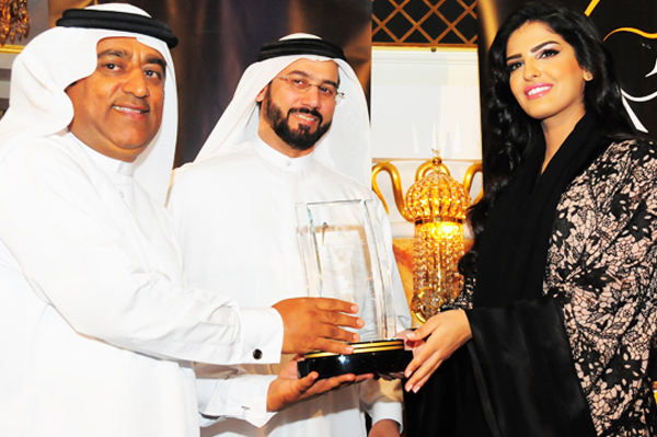 H.H Princess Ameerah Al Taweel Recieves the Middle East Women Leadership Role Model Excellence Award from Mr. Ali Al Kamali, Managing Director, Datamatix and Mr. Ahmed Tahlak, President and Chairman of LEVENBERT